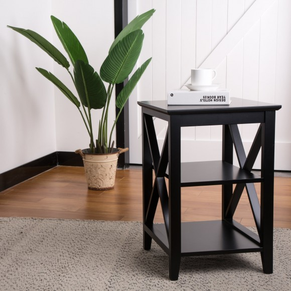 "Glitzhome  23.62""H Traditional Espresso X Frame End Table"