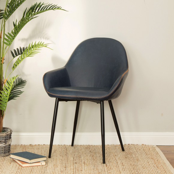 Glitzhome Modern Arm Chairs Dining Living Restaurant Chairs Set of 2 (Navy Blue)