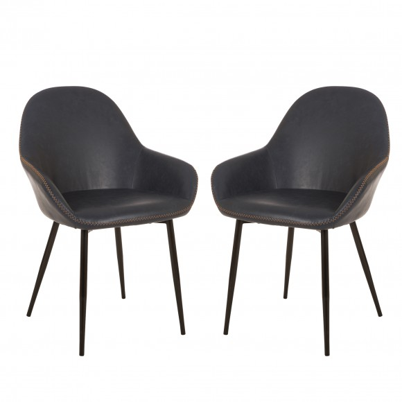Glitzhome Mid-Century Modern Navy Blue Leatherette Dining Armchair, Set of 2