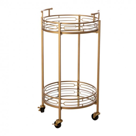 """Glitzhome 29.5""""H Gold Deluxe 2-Tier Metal Bar Cart Round Mirrored Glass Top Serving Cart"""