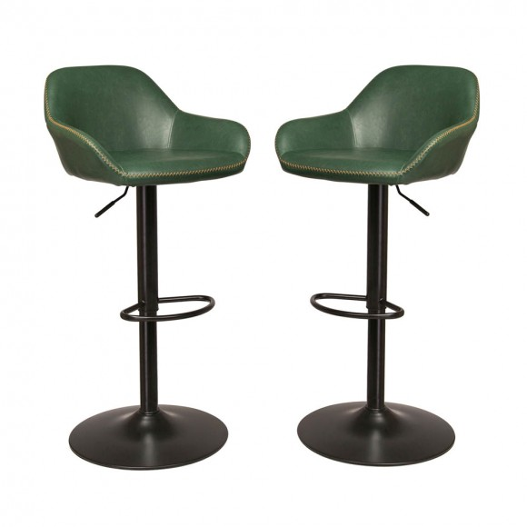 Glitzhome Retro Chrome Dining Chairs Leatherette Bar Stool Leather Seat Set of 2 (Hunter Green)