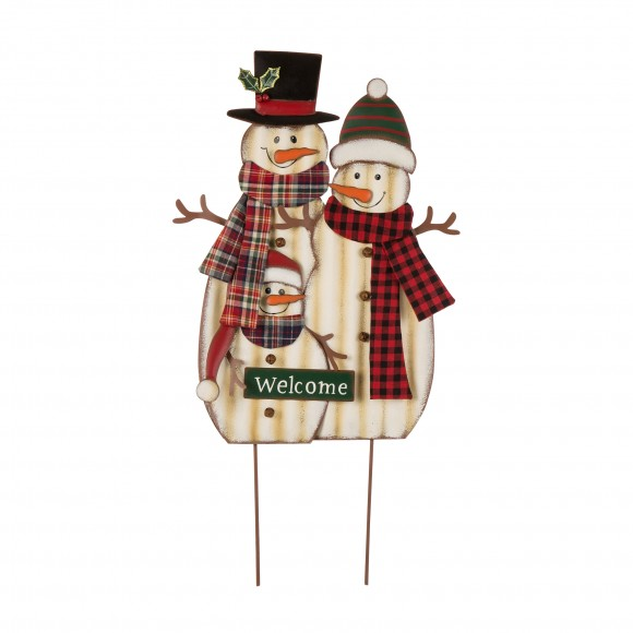"Glizhome  29.92"" H Metal Snowman Family Yard Stake with Plaid Scarf or Christmas Wall Decor"