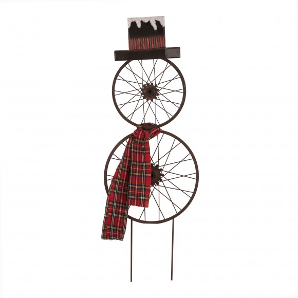 "Glizhome 36"" H Metal Bike Wheel Snowman Yard Stake with Plaid Scarf or Christmas Wall Decor"