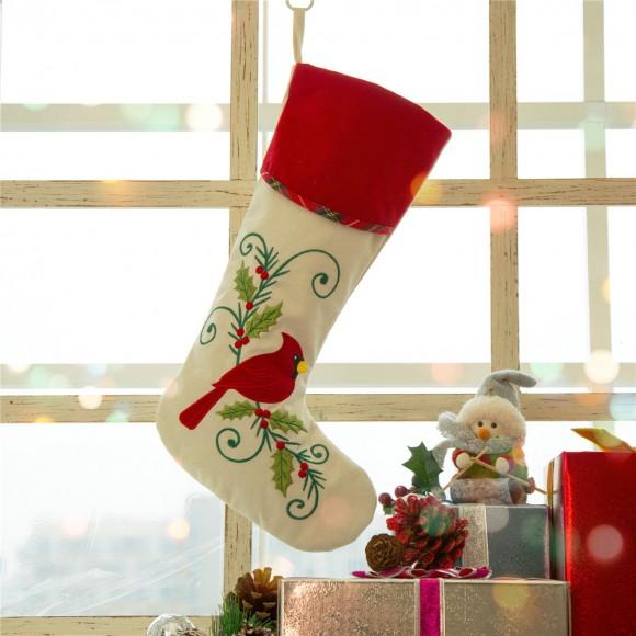 "Glitzhome 21""L 21""L Fabric Cardinal Stocking,""Merry Christmas"""