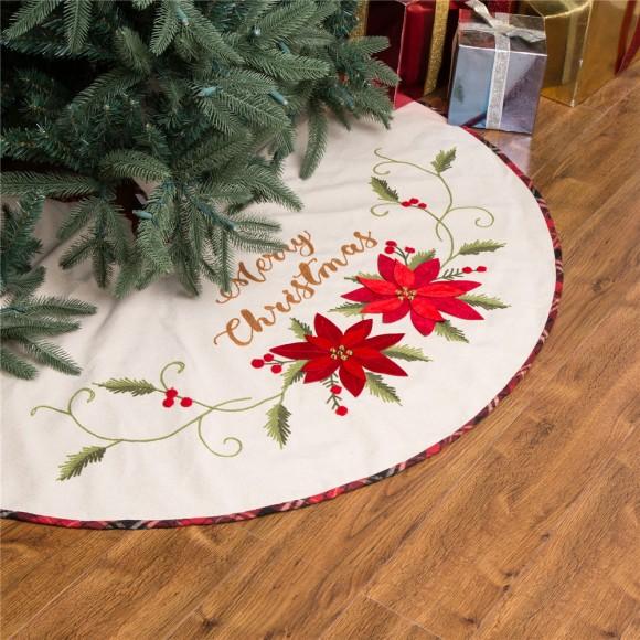 "Glitzhome Christmas Tree Skirt 48"" Fabric Poinsettia Christmas Tree Skirt"