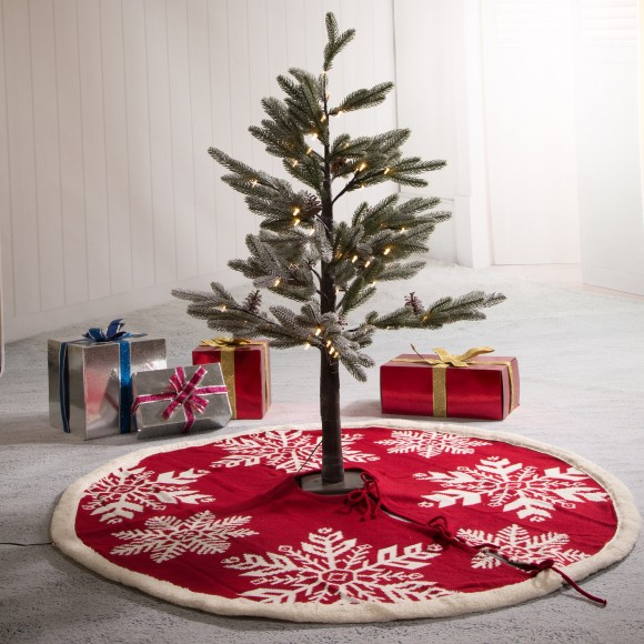 """Glitzhome Fabric Merry Christmas Tree Skirt Christmas Home Decor, 48"""" inches(in Diameter)"""