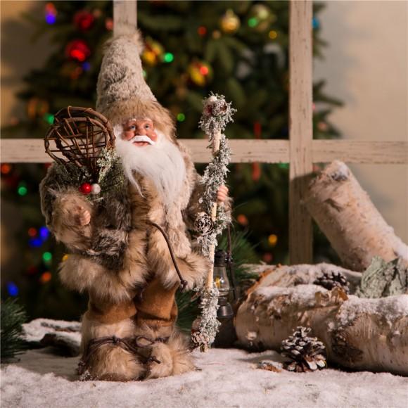 Glitzhome Handmade Faux Fur Santa Figurine Christmas Holiday Decoration Ornaments Gray 12-inch