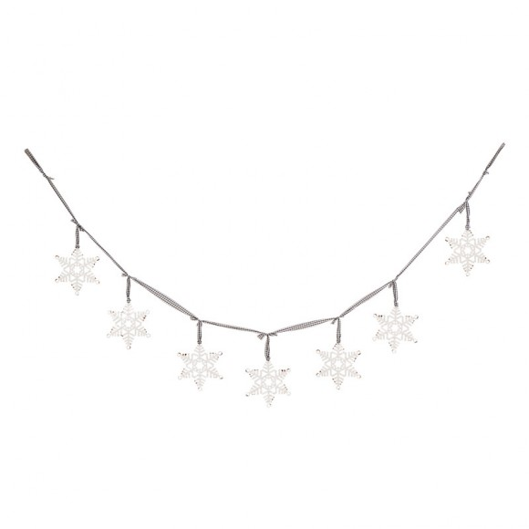 Glitzhome 72''L Metal Snowflake Garland Banner Indoor Outdoor Holiday Festival Xmas Party Decorations