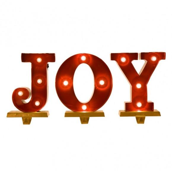 "Glitzhome Christmas Stocking Holder 8.46""H ""JOY"" Stocking Holder Set"