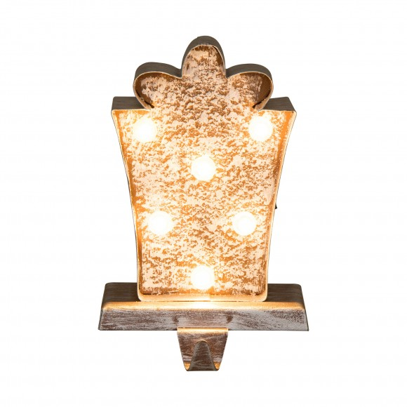 """Glitzhome 7.50""""H Marquee LED Wooden/Metal Giftbox Stocking Holder"""