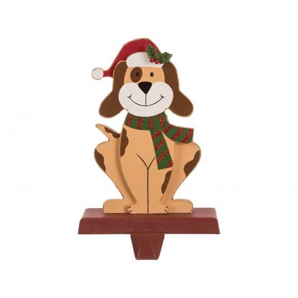 "Glitzhome 7.50""H Wooden/Metal Dog Stocking Holder"