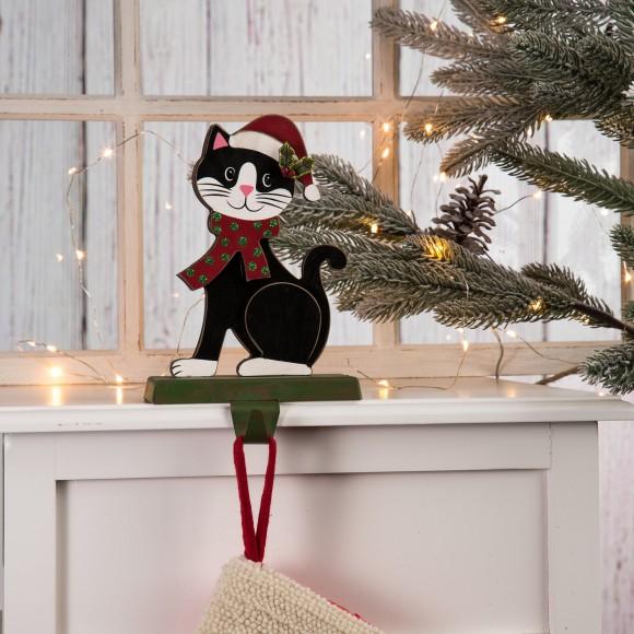 "Glitzhome 7.50""H Wooden/Metal Cat Stocking Holder"