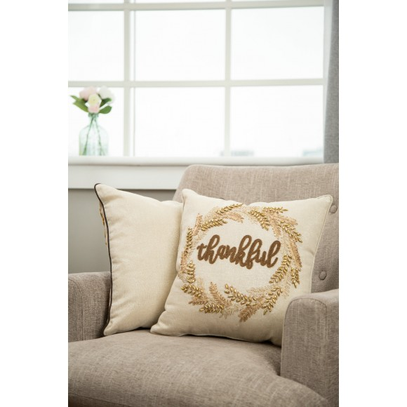 """Glitzhome Thanksgiving Pillow Home Decor Pillow with Insert Embroidered """"Thank you"""" Square 16 x 16 Inch"""