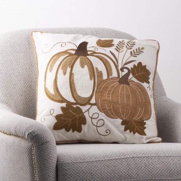 """Glitzhome 20""""L Cotton Embroidered Pumpkin Pillow Cover"""