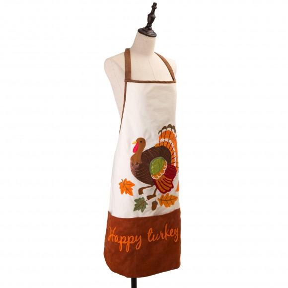 """Glitzhome 32""""L Cotton Embroidered Turkey Apron"""