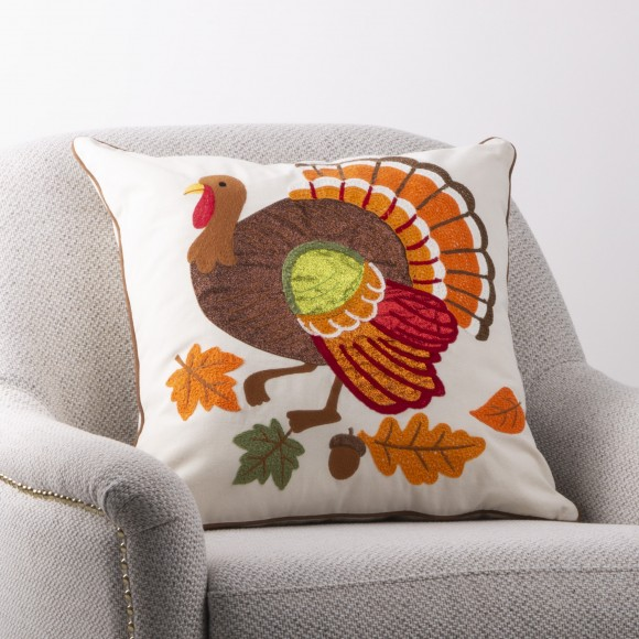 """18""""L x 18""""W Cotton Embroidered Turkey Pillow Cover"""