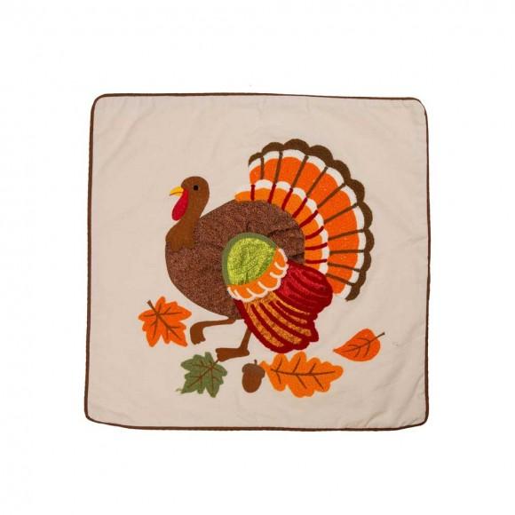"""Glitzhome 18""""L x 18""""W Cotton Embroidered Turkey Pillow Cover"""