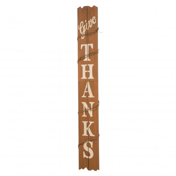 """Glitzhome 51.57"""" H Farmhouse Style Wooden Give Thanks Porch Sign for Thanksgiving Rustic Home Decor"""