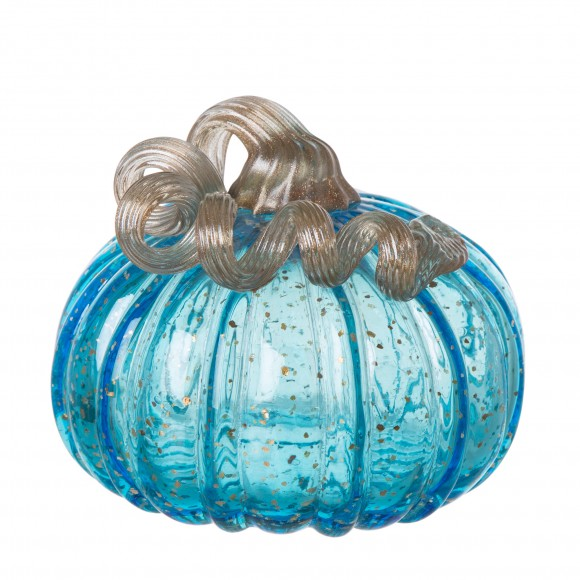 Glitzhome 5.12 Inch Hand Blown Blue Glitter Glass Pumpkin Table Accent