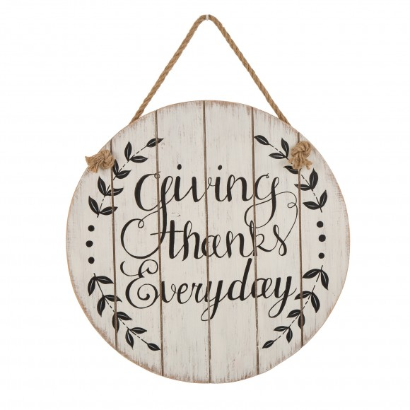 Glitzhome Thanksgiving Wall Decorations Farmhouse Wooden Wall Decorative Sign Round Hanging Thanksgiving Wall Art