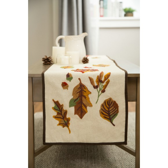 "Glitzhome Linen Table Runner Embroidered Leaves Pattern Fall Harvest Decorations 72"" inches"