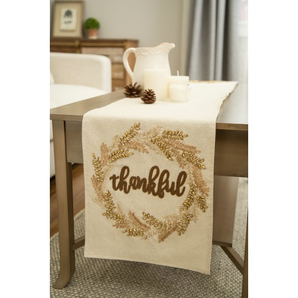 "Glitzhome Elegant Holiday Table Runner Embroidered ""Thank you"" Rectangular Thanksgiving Table Runner 13 X 72"""