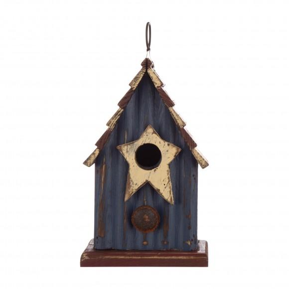 "Glitzhome 9.06""H Rustic Patriotic Garden Distressed Wooden Decorative Birdhouse"