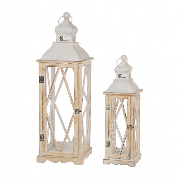 Glitzhome Farmhouse White Wood Metal Lanterns Decorative Hanging Candle Lanterns Set of 2