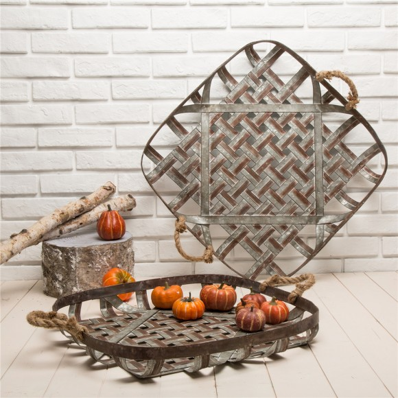Glitzhome Farmhouse Oversized Galvanized Metal Wall Basket Set Of 2