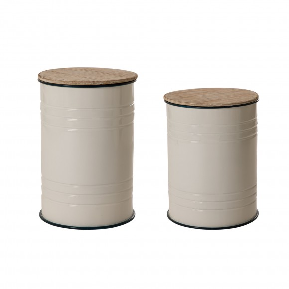 Glitzhome White Farmhouse Metal Enamel Storage Accent Table or Stool with Round Wood Lid, Set of 2