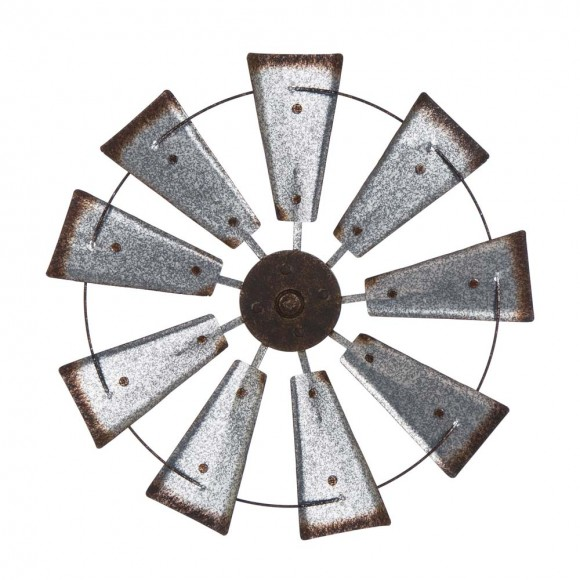 "Glitzhome 22.05""D Farmhouse Metal Galvanized Wind Spinner Wall Décor"