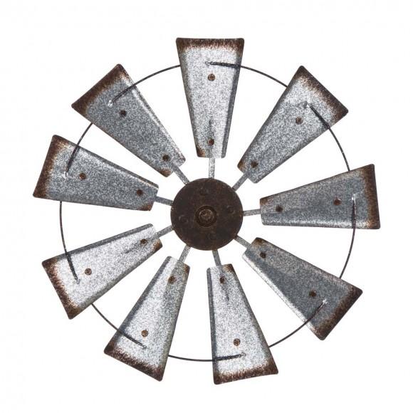 Glitzhome Farmhouse Metal Galvanized Wind Spinner Wall Décor