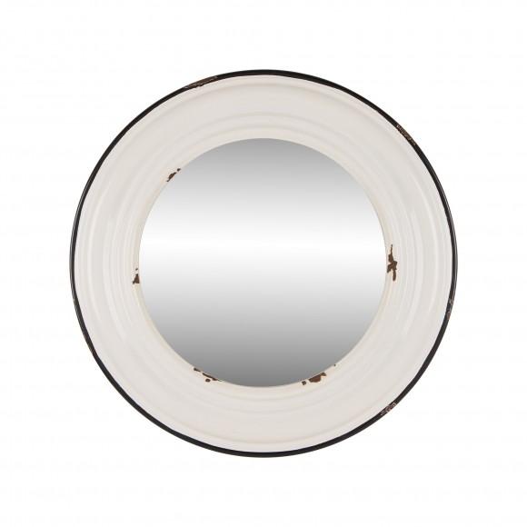 Glitzhome Metal Accent Enamel Wall Mirror Round Vintage Farmhouse Style Home Decor