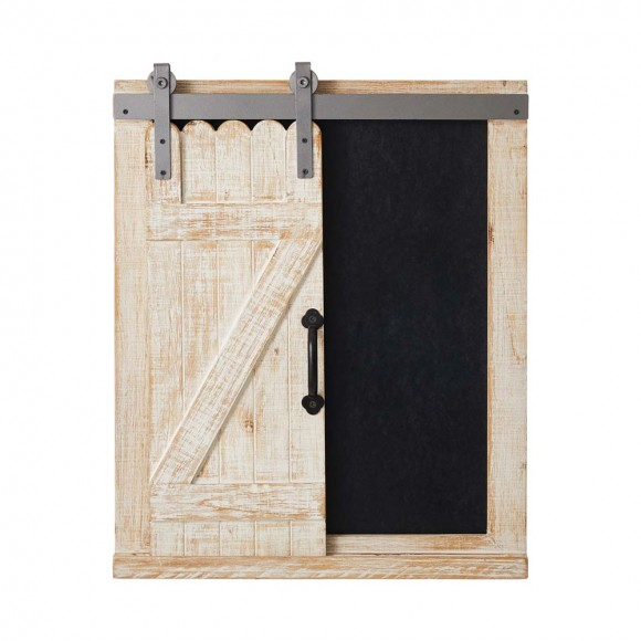 Glitzhome Rustic Wooden Chalkboard Barn Door Farmhouse Style Home Decor