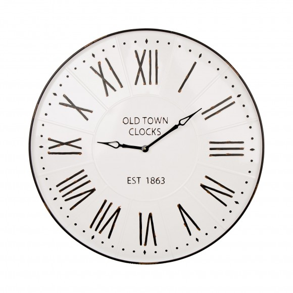 "Glitzhome 31.5"" Oversized Farmhouse Metal Enamel Wall Clock"