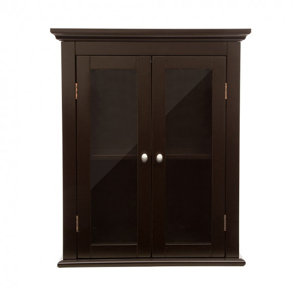 Glitzhome Wooden Wall Storage Cabinet With Glass Double Doors Espresso