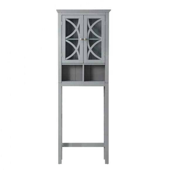 "【PRE-SALE】Glitzhome 68.25""H Wooden Bathroom Free Standing Storage Cabinet Spacesaver with Glass Double Doors, Gray — Ship After 5/21, 2021"