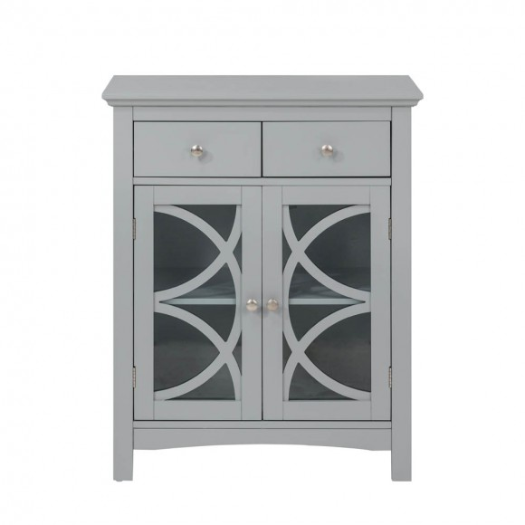 Glitzhome Wooden Free Standing Storage Cabinet with Glass Double Doors and Drawer, Gray