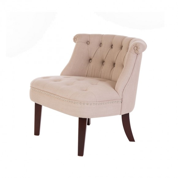 Glitzhome Fabric Button Tufted Accent Chair, Beige