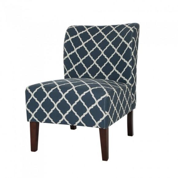 Glitzhome Indigo Lattice Upholstered Accent Chair