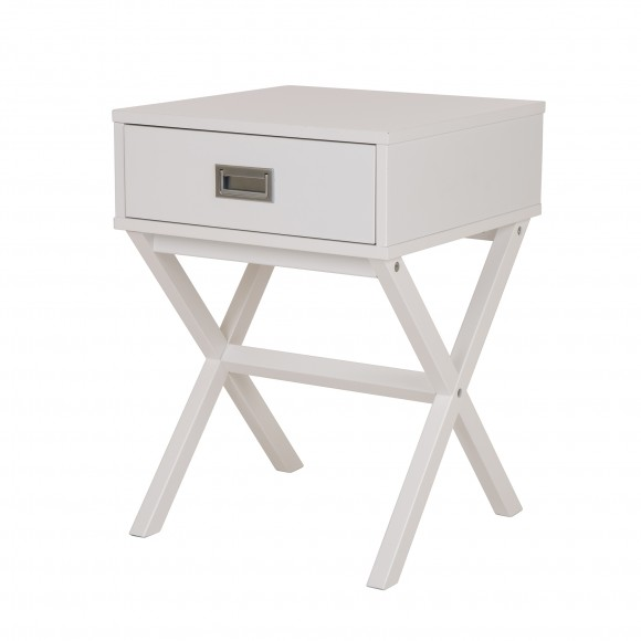 Glitzhome Wooden X-Shape Side Table With Drawer White