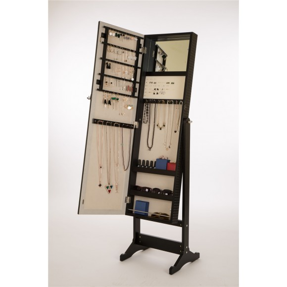 Glitzhome Lockable Jewelry Cabinet Standing with Mirror Jewelry Holder Organizer Storage in Black Color