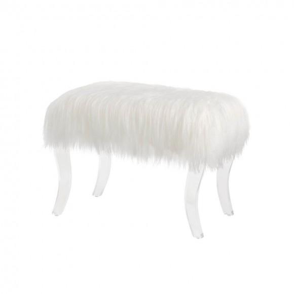 Glitzhome  Faux Fur Bench- White