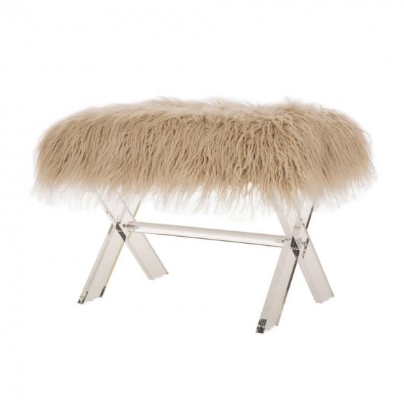 Glitzhome Faux Fur Acrylic Bench with Acrylic X-Legs Khaki