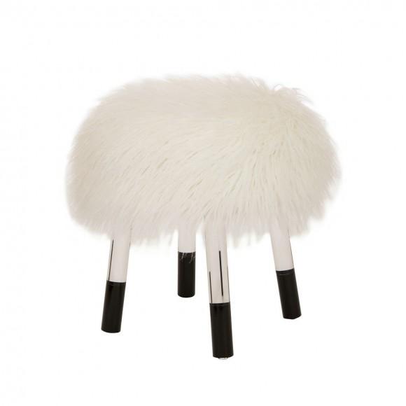 Glitzhome White Faux Fur Round Acrylic Stool 16.14 Inch Length