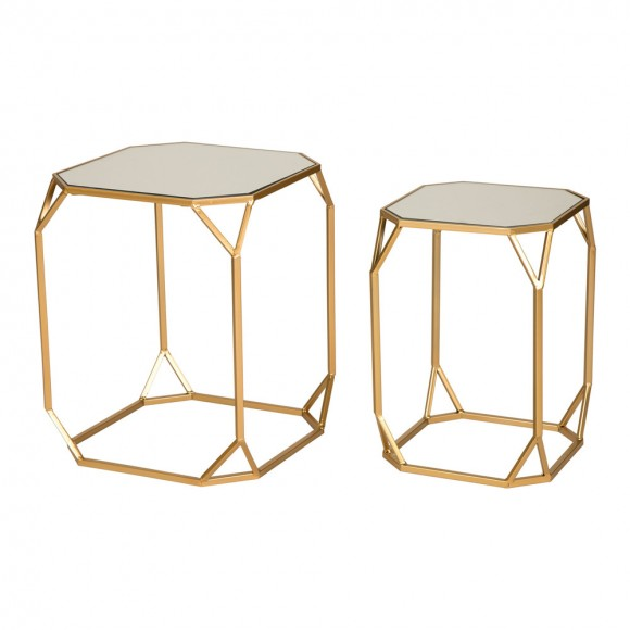 Glitzhome Gold Metal Nesting Side & End Accent Tables with Glass Top, Set of 2