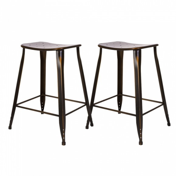 Glitzhome Antique Bronze Metal Counter Stool with Saddle Seat (Set of 2)
