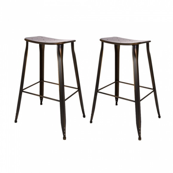 Glitzhome Antique Bronze Metal bar Stool with Saddle Seat (Set of 2)