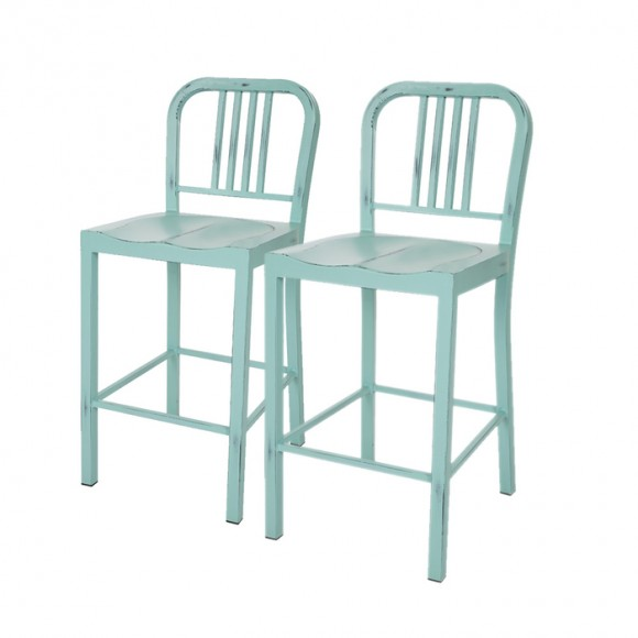 Glitzhome Vintage Light Blue Metal Counter Bar Stool (Set of 2)