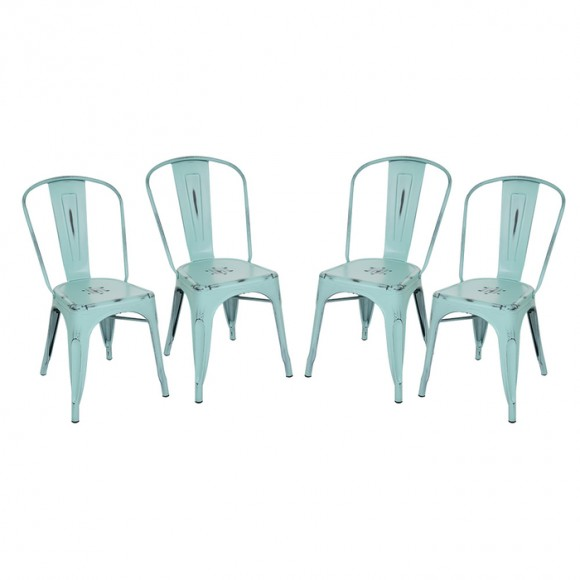 Glitzhome Vintage Stackable Metal Side Chairs Light Blue, Set Of Four